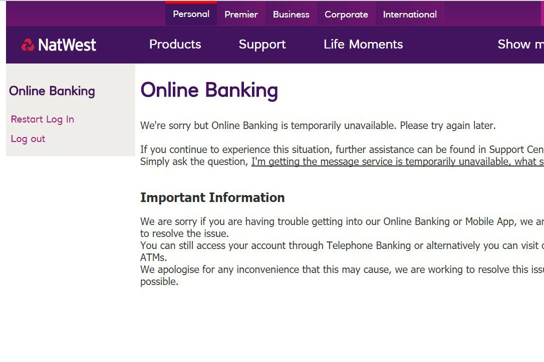 NatWest and RBS suffer online and mobile banking borkage